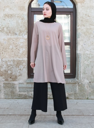 Mink - Crew neck - Cotton - Tunic