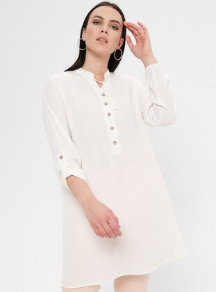 Cream - Crew neck - Cotton - Plus Size Tunic