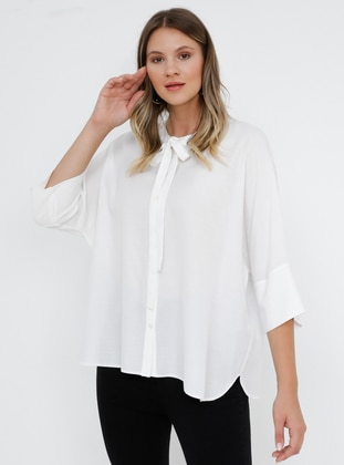 White - Ecru - Crew neck - Viscose - Plus Size Blouse - Alia