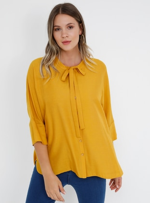 Yellow - Mustard - Crew neck - Viscose - Plus Size Blouse