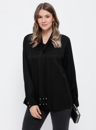 Black - V neck Collar - Viscose - Plus Size Blouse