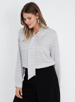 White - Gray - Ecru - Multi - V neck Collar - Plus Size Blouse - Alia