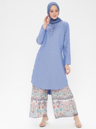 Blue - Button Collar - Tunic