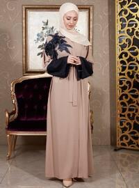 Beige - Unlined - V neck Collar - Abaya