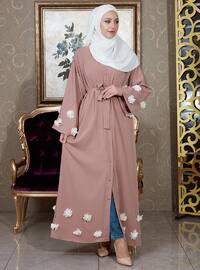 Dusty Rose - Unlined - V neck Collar - Abaya