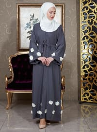 Gray - Unlined - V neck Collar - Abaya