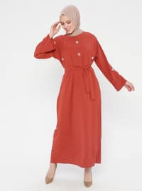 Tan - Crew neck - Unlined - Dress