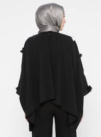 Black - Crew neck - Unlined - Poncho