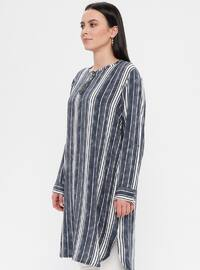 Gray - Stripe - Crew neck - Cotton - Plus Size Tunic
