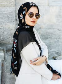 Black - Printed - Shawl -  Eşarp
