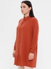 Terra Cotta - Point Collar - Cotton - Plus Size Blouse