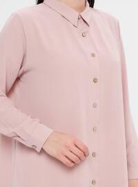 Powder - Point Collar - Cotton - Plus Size Blouse