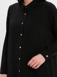 Black - Point Collar - Cotton - Plus Size Blouse