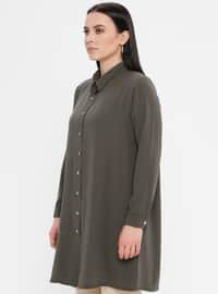 Green - Point Collar - Cotton - Plus Size Blouse