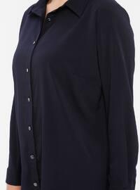 Navy Blue - Point Collar - Viscose - Tunic