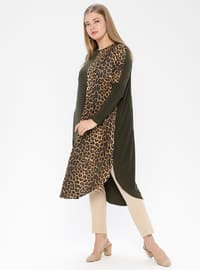 Khaki - Leopard - Crew neck - Plus Size Tunic