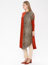 Terra Cotta - Leopard - Crew neck - Plus Size Tunic