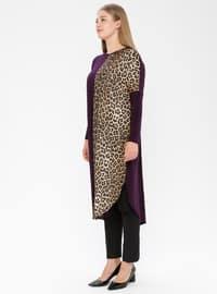 Plum - Leopard - Crew neck - Plus Size Tunic