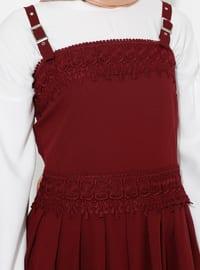 Maroon - Unlined - Cotton - Dress