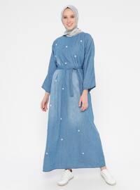 Blue - Crew neck - Unlined - Cotton - Denim - Dress