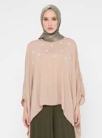 Brown - Crew neck - Poncho