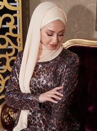 Leopard - Leopard - Fully Lined - Crew neck - Muslim Evening Dress