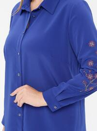 Saxe - Point Collar - Viscose - Plus Size Tunic
