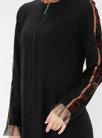 Black -  - Unlined - Crew neck - Abaya
