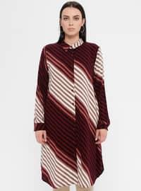 Maroon - Stripe - Point Collar - Cotton - Plus Size Blouse