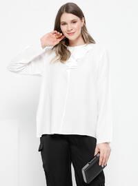 White - Ecru - Crew neck - Cotton - Viscose - Plus Size Blouse