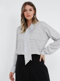 White - Gray - Ecru - Multi - V neck Collar - Plus Size Blouse