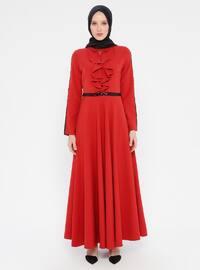 Mercan - Fransız yakalı - Astarsız kumaş - Elbise