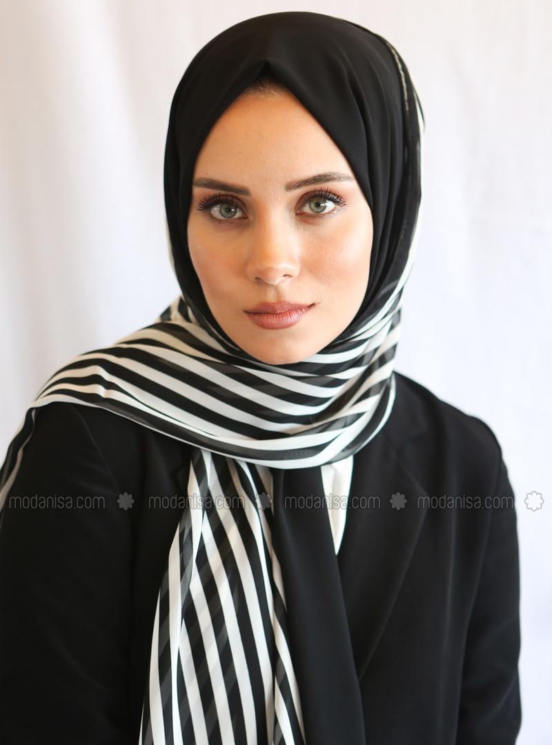 Black - Striped - Shawl - Eşarp