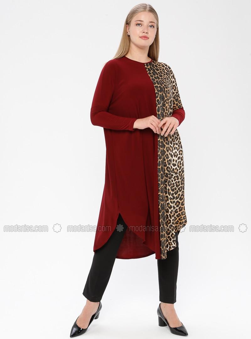 Maroon - Leopard - Crew neck - Plus Size Tunic
