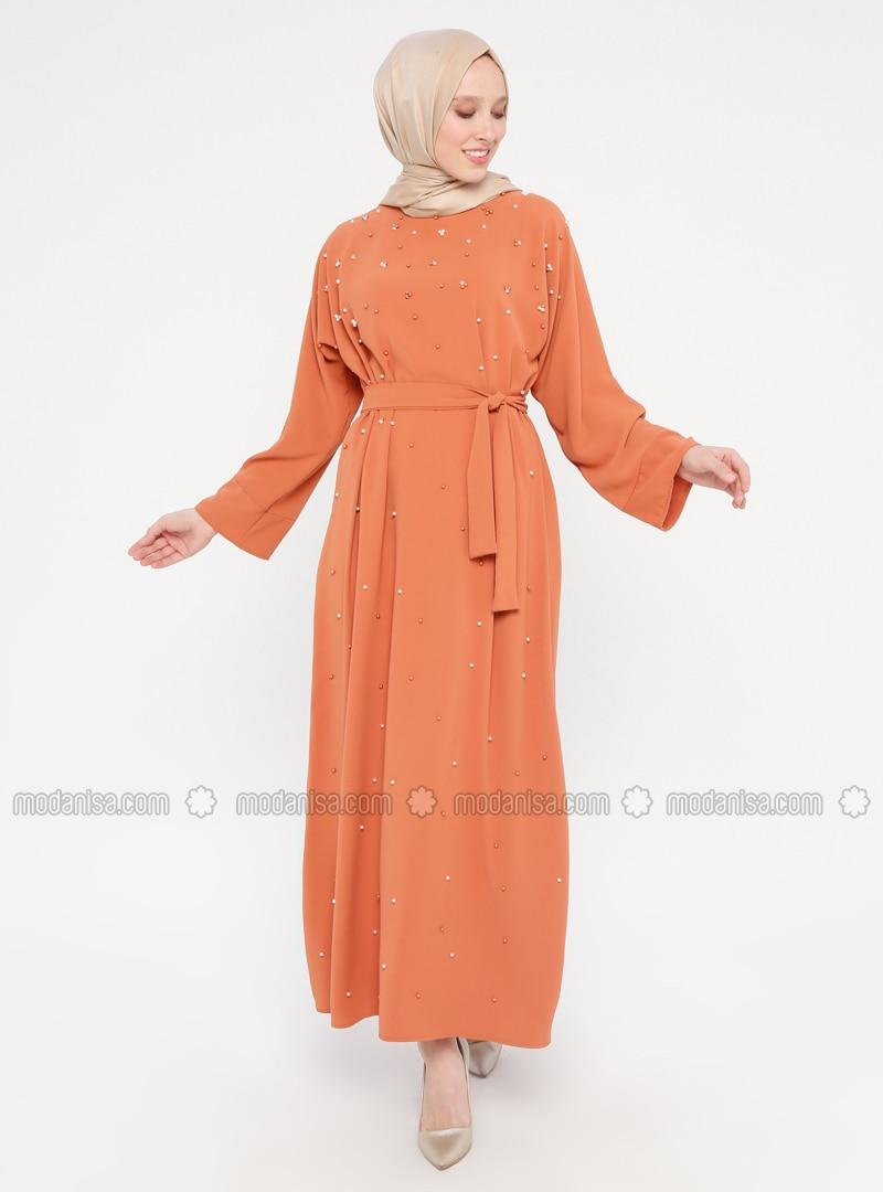 Orange - Crew neck - Unlined - Dress