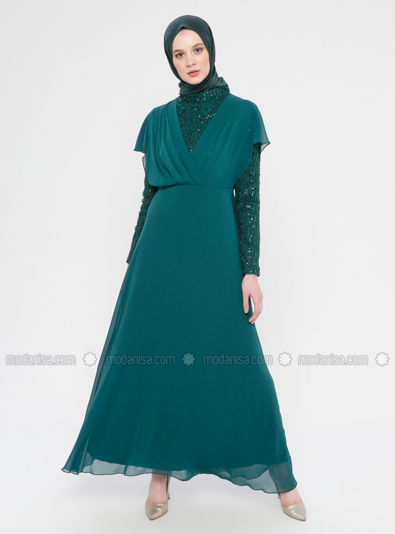 Green - Fully Lined - Polo neck - Muslim Evening Dress