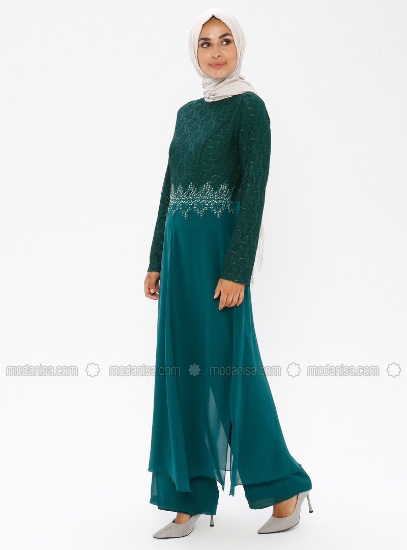 Green - Crew neck - Jumpsuit