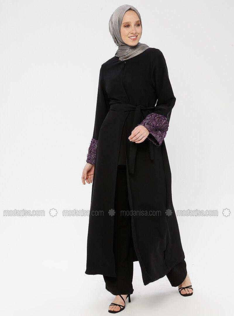 Black - Purple - Unlined - Crew neck - Abaya
