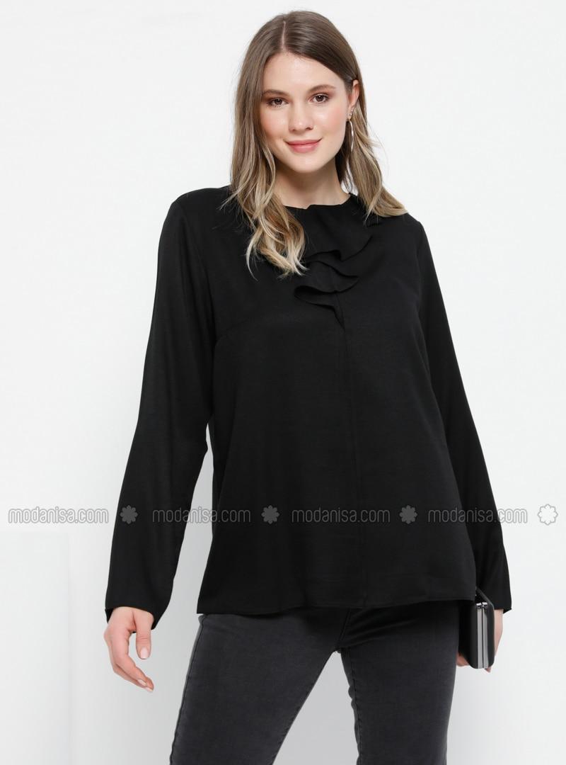 Black - Crew neck - Cotton - Viscose - Plus Size Blouse