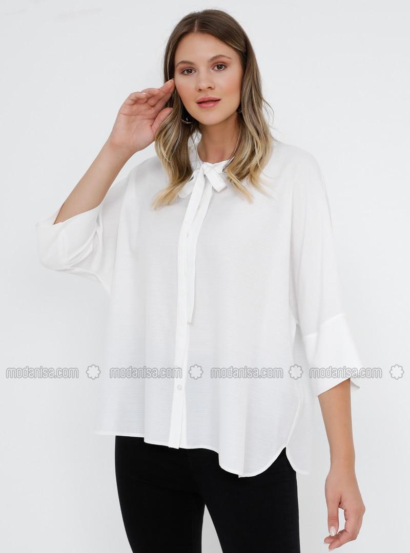 White - Ecru - Crew neck - Viscose - Plus Size Blouse