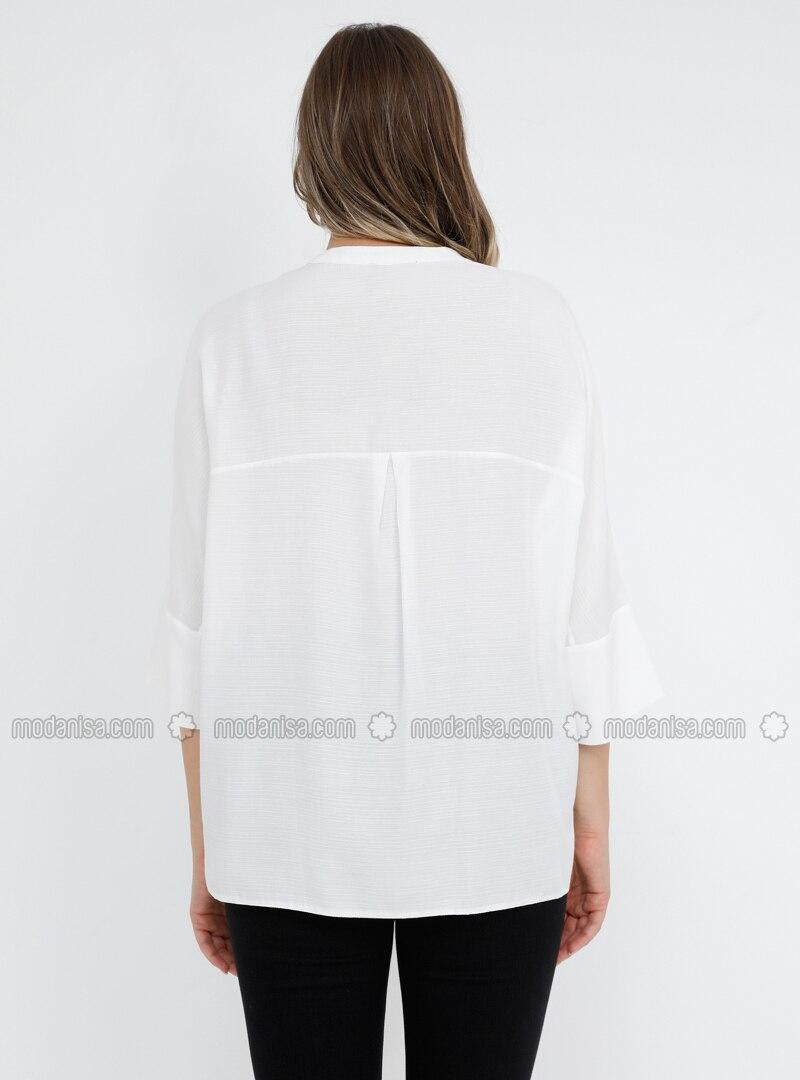 30db4fcf8a6 White - Ecru - Crew neck - Viscose - Plus Size Blouse