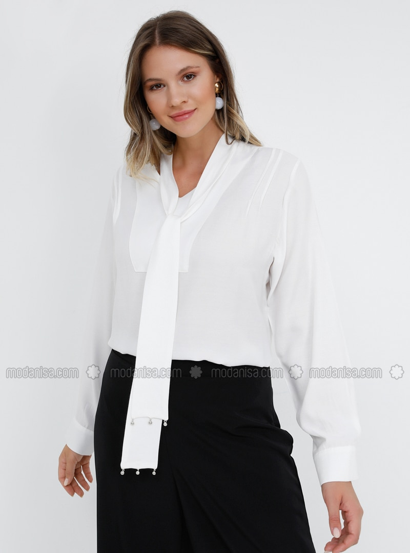 White - Ecru - V neck Collar - Viscose - Plus Size Blouse