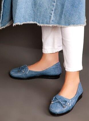 Blue - Flat - Flat Shoes - Ayakkabı Havuzu