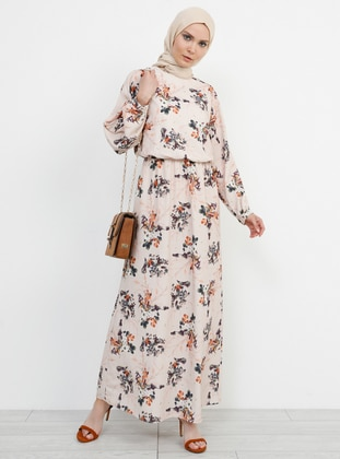Beige - Floral - Crew neck - Unlined - Dress