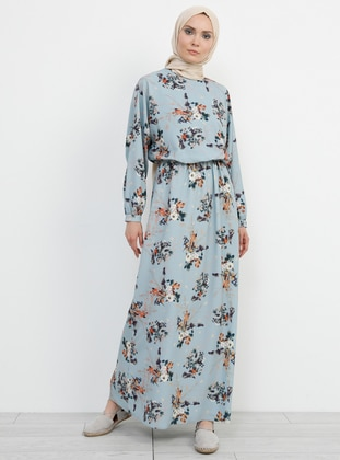 Blue - Floral - Crew neck - Unlined - Dress