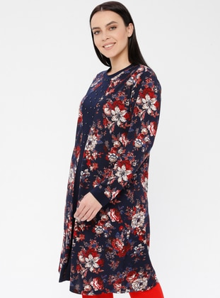 Navy Blue - Maroon - Floral - Crew neck - Viscose - Plus Size Tunic