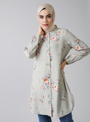 Green Almond - Floral - Button Collar - Blouses