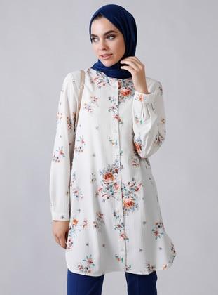 White - Ecru - Floral - Button Collar - Blouses