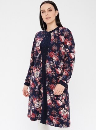 Dusty Rose - Floral - Crew neck - Viscose - Plus Size Tunic