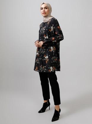 Black - Floral - Button Collar - Blouses